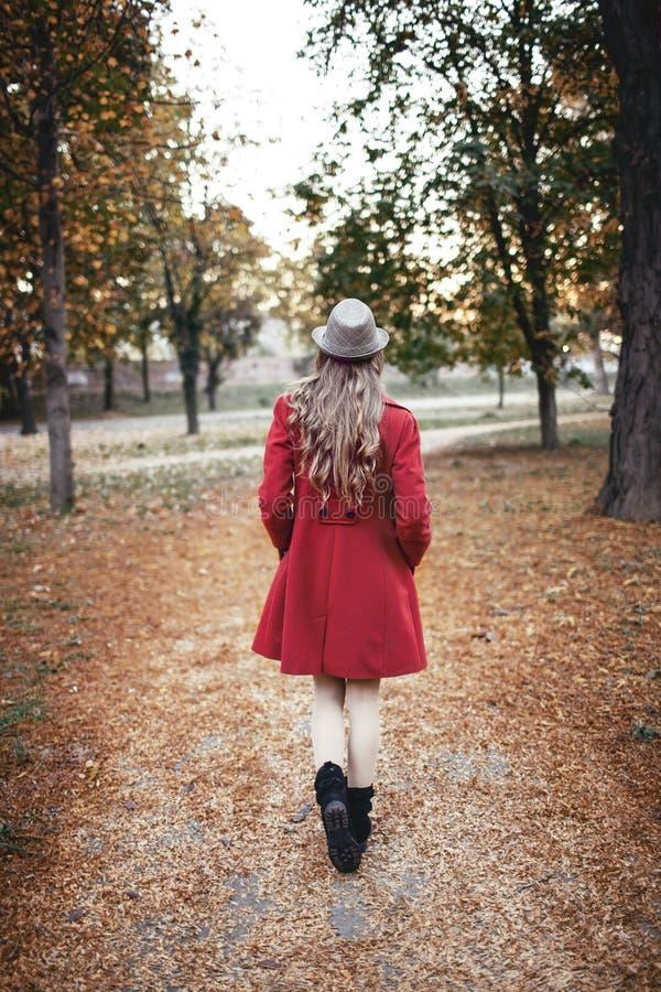 Mulher que anda no parque no outono foto de stock