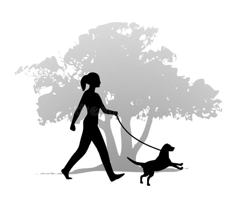 Mulher que anda o cão ilustração royalty free