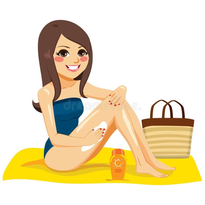 Mulher que aplica o creme do suntan ilustração royalty free
