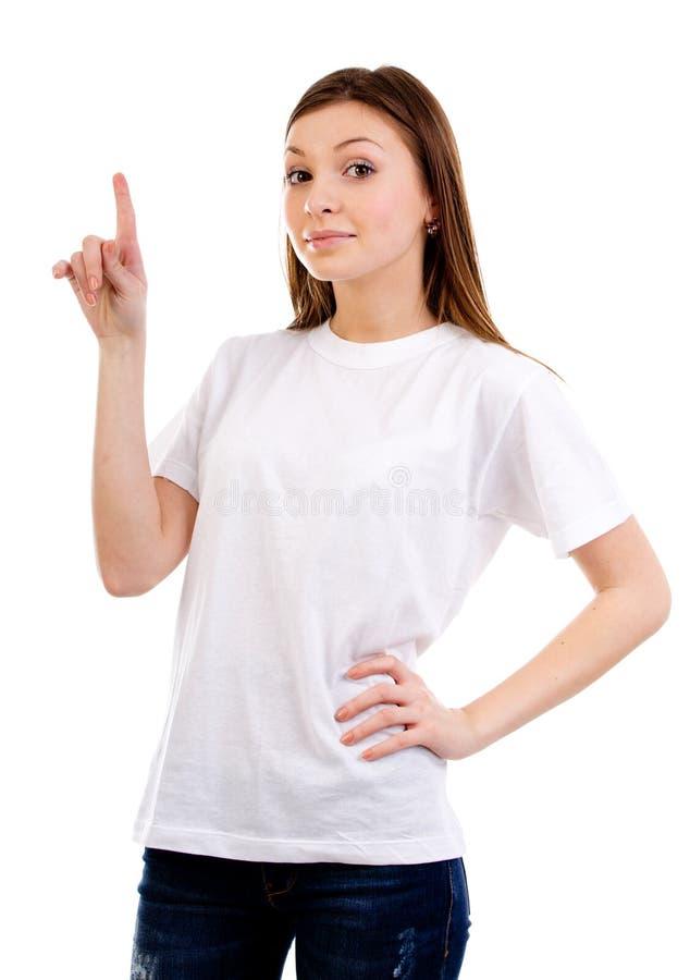 Mulher que aponta acima imagens de stock royalty free