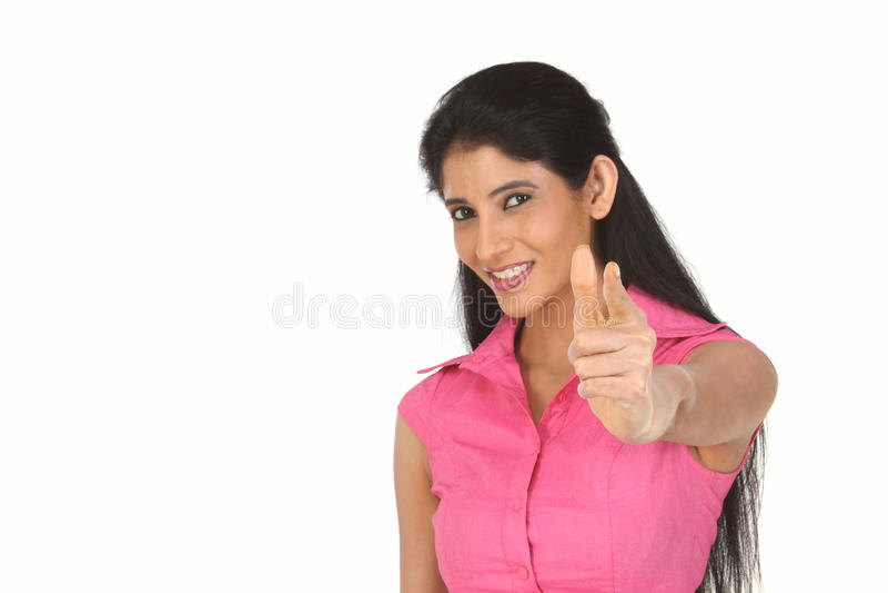 mulher que aponta seu dedo imagens de stock