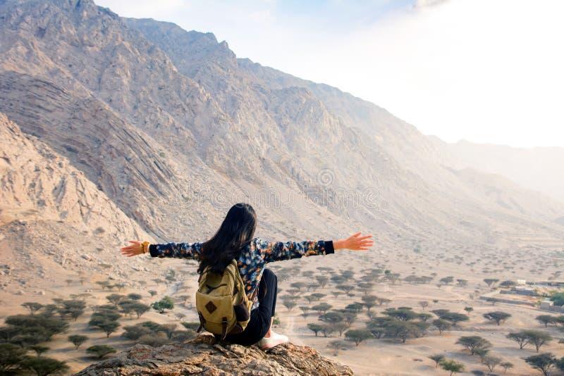 Mulher que aprecia o cenário do deserto imagem de stock royalty free