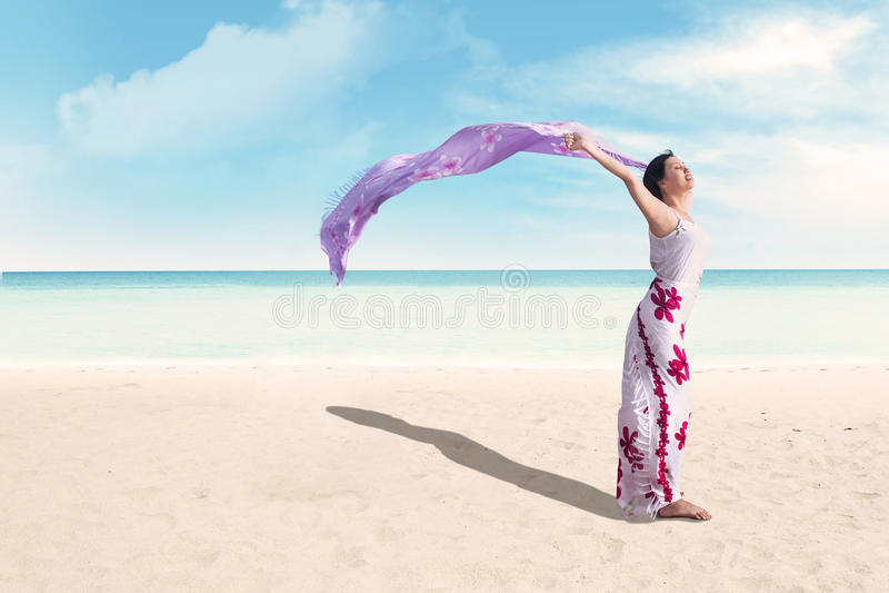 Mulher que aprecia o feriado na praia fotografia de stock