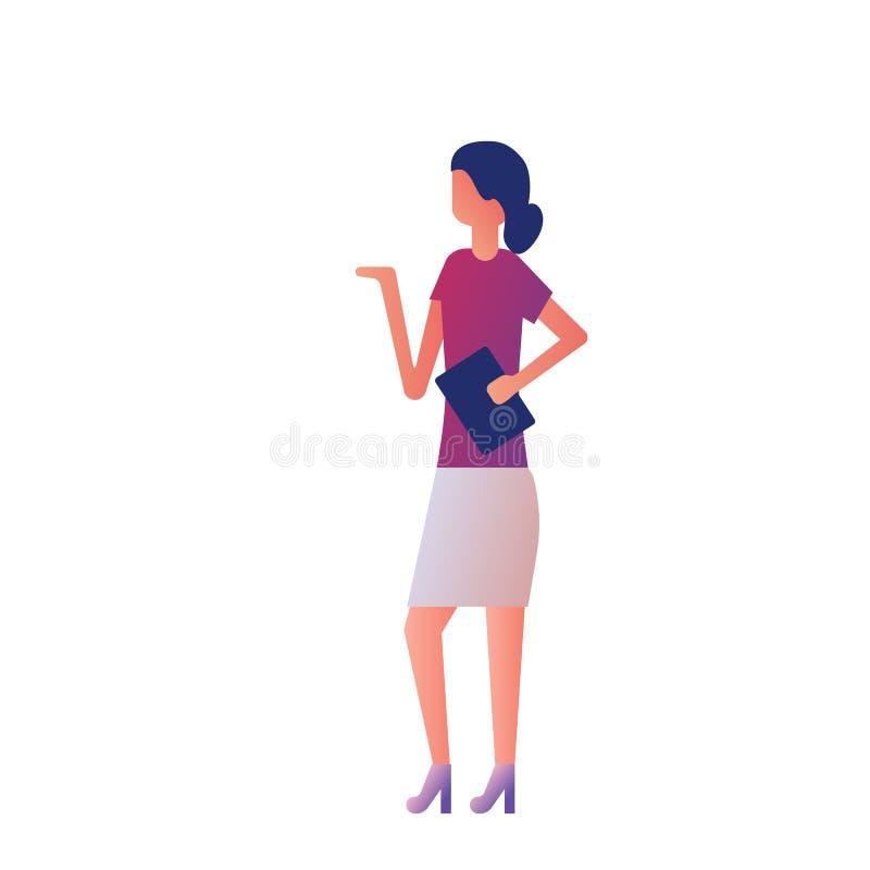 Mulher que apresenta algo ilustração stock