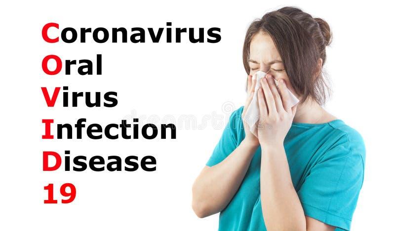 Mulher que apresenta sintomas de coronavírus ou vírus do vírus do colo 19, conceito de cuidados de saúde fotografia de stock