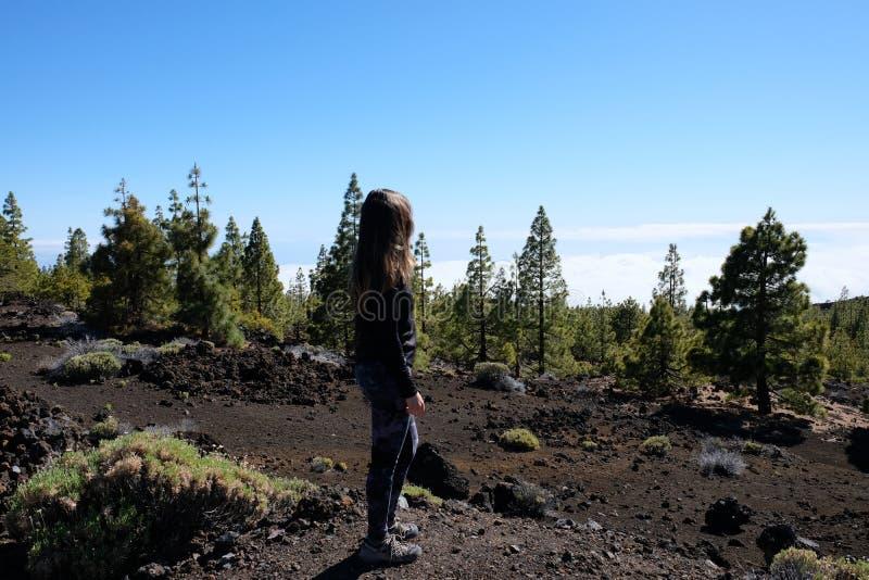 Mulher que ascensão o pico de montanha de Teide em uma paisagem vulcânica seca e rochosa foto de stock