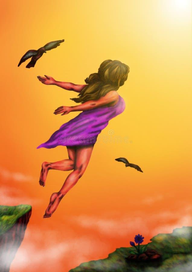 Mulher que aumenta ao claro (2014) ilustração royalty free