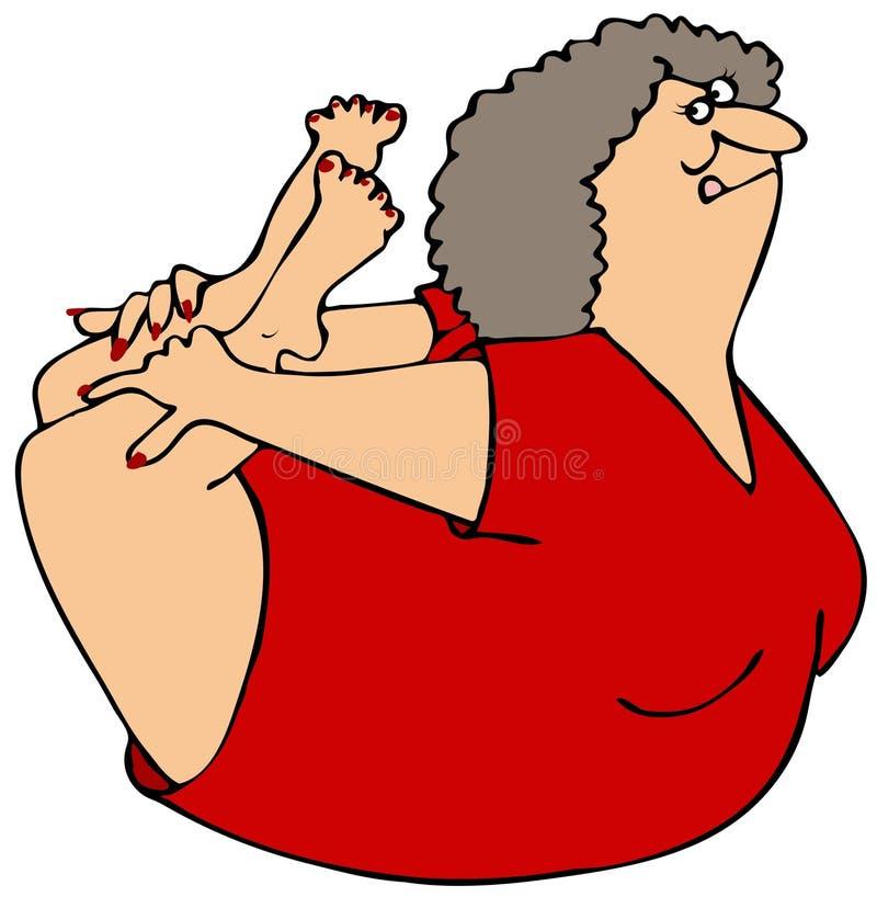 Mulher que balança em sua barriga ilustração stock