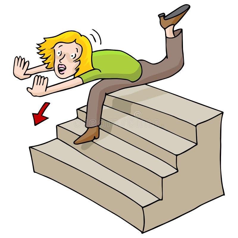 Mulher que cai para baixo escadas ilustração royalty free