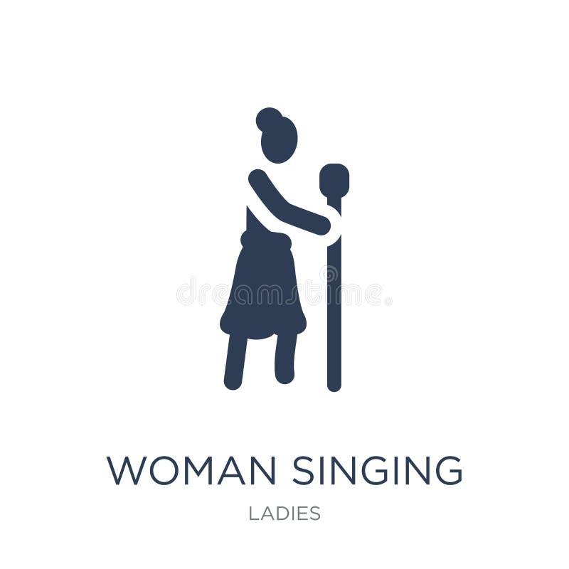 Mulher que canta com ícone do microfone Pecado liso na moda da mulher do vetor ilustração royalty free