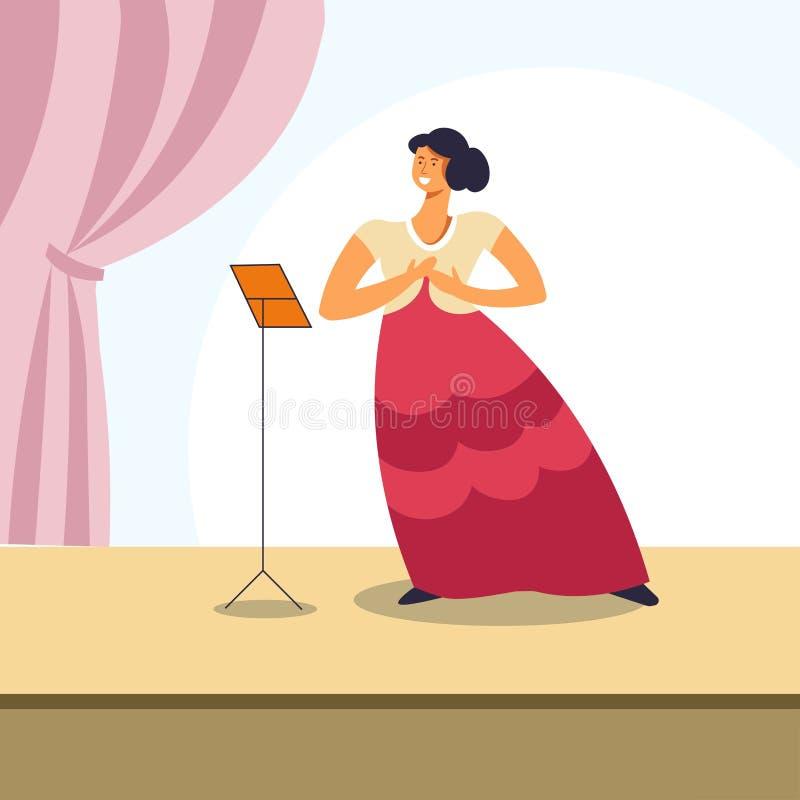 Mulher que canta na fase da ópera ou no concerto clássico ilustração stock