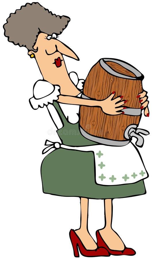 Mulher que carreg um barril de madeira ilustração royalty free