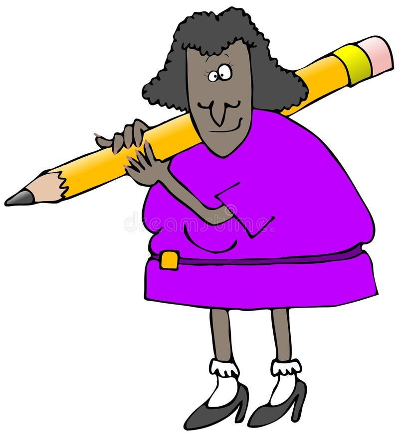 Mulher que carreg um lápis gigante ilustração stock
