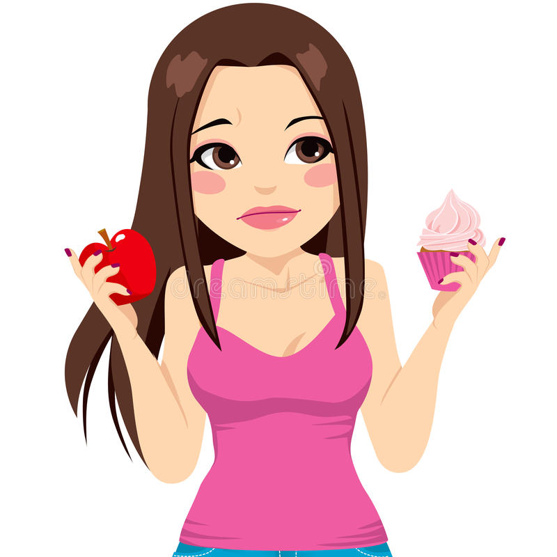 Mulher que come Apple ou o queque ilustração do vetor