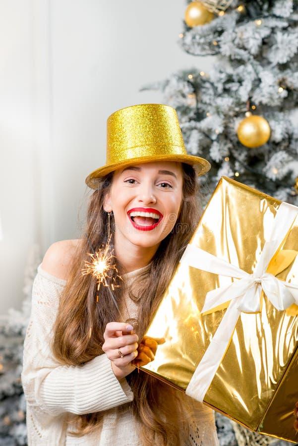 Mulher que comemora feriados de inverno foto de stock royalty free