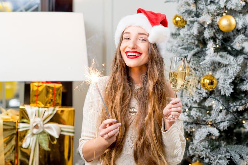 Mulher que comemora feriados de inverno imagem de stock royalty free