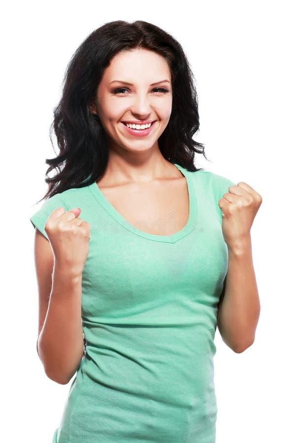 Mulher que comemora o sucesso fotos de stock royalty free