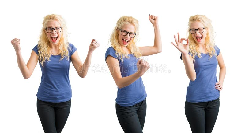 Mulher que comemora seus succes em 3 maneiras diferentes fotografia de stock royalty free