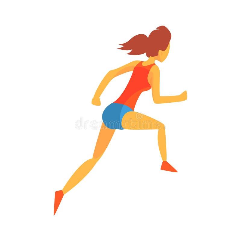 Mulher que compete com obstáculos, desportista fêmea que corre a trilha na parte superior vermelha e curto azul em competir a com ilustração do vetor