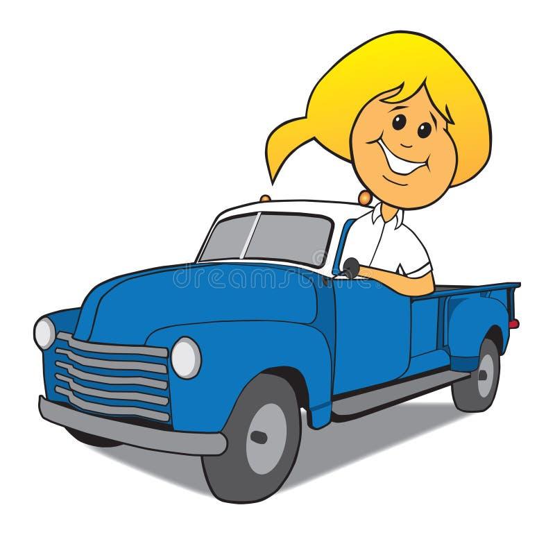 Mulher que conduz o caminhão velho ilustração do vetor
