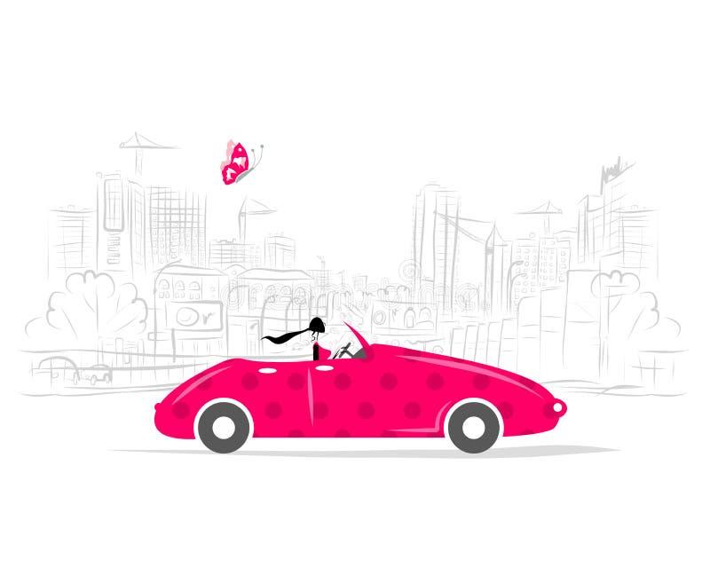 Mulher que conduz o carro para seu projeto ilustração do vetor