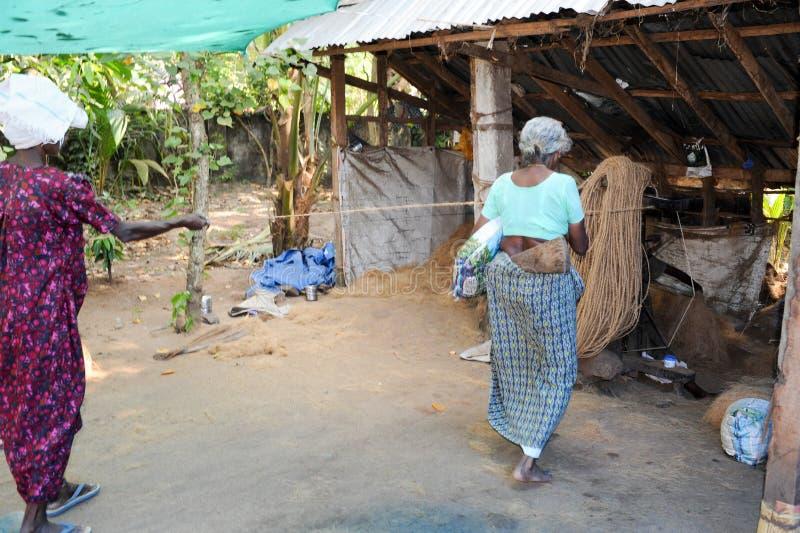 Mulher que constrói uma corda natural em Kollam na Índia fotografia de stock royalty free