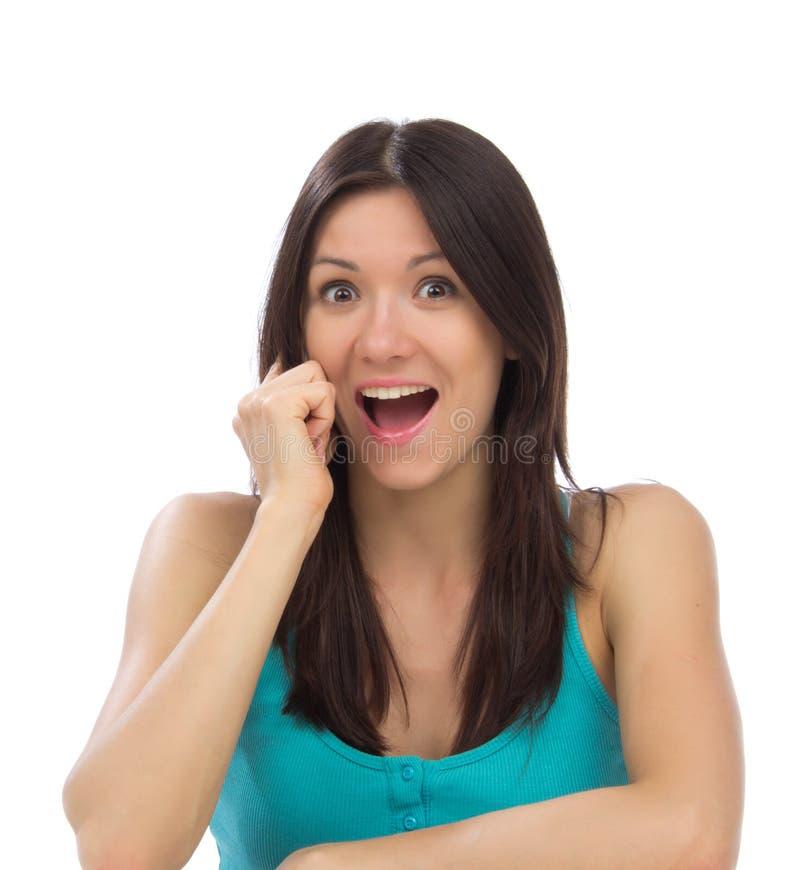 Mulher que convida o telefone que grita foto de stock