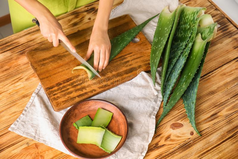 Mulher que corta a folha de vera do aloés na placa de madeira fotografia de stock