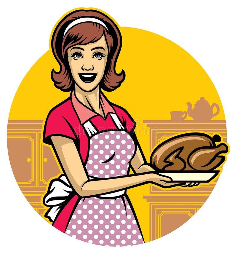 A mulher que cozinha e apresenta a galinha roasted ilustração stock