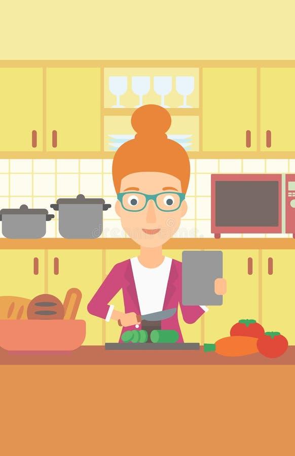 Mulher que cozinha a refeição ilustração stock