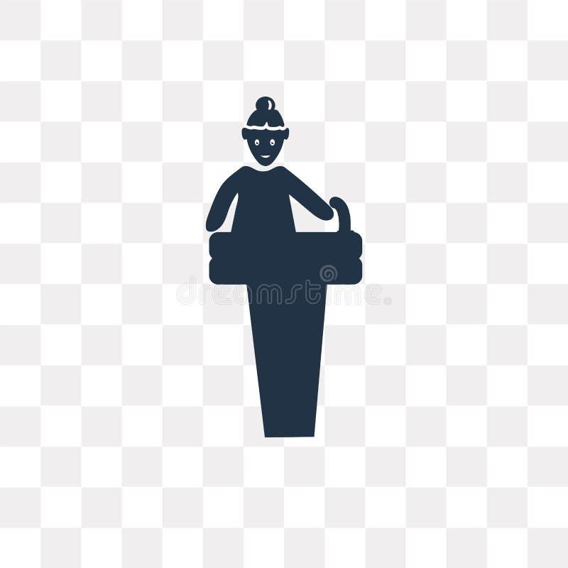 Mulher que dá um ícone do vetor do discurso isolado no backgr transparente ilustração royalty free