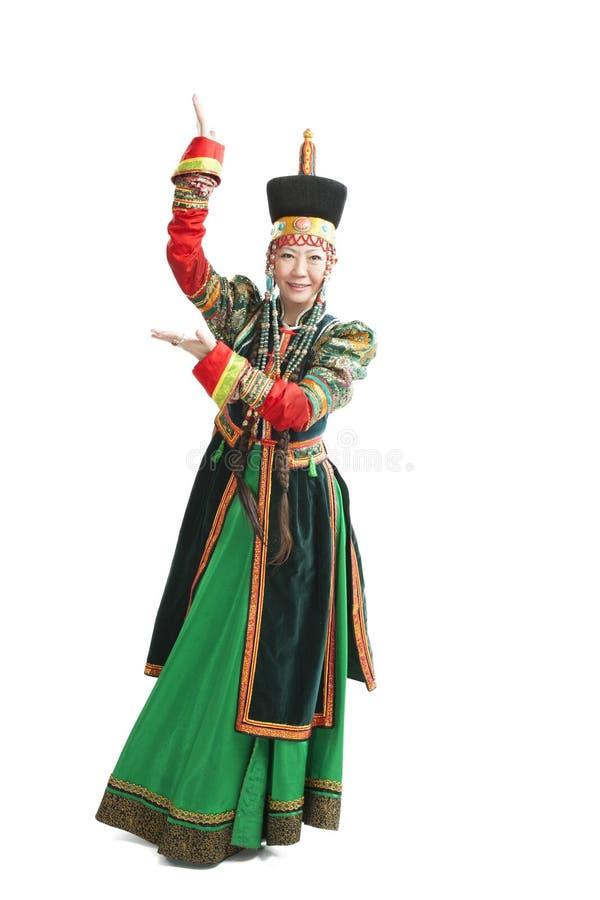 Mulher que dança a dança nacional de Buryat fotos de stock