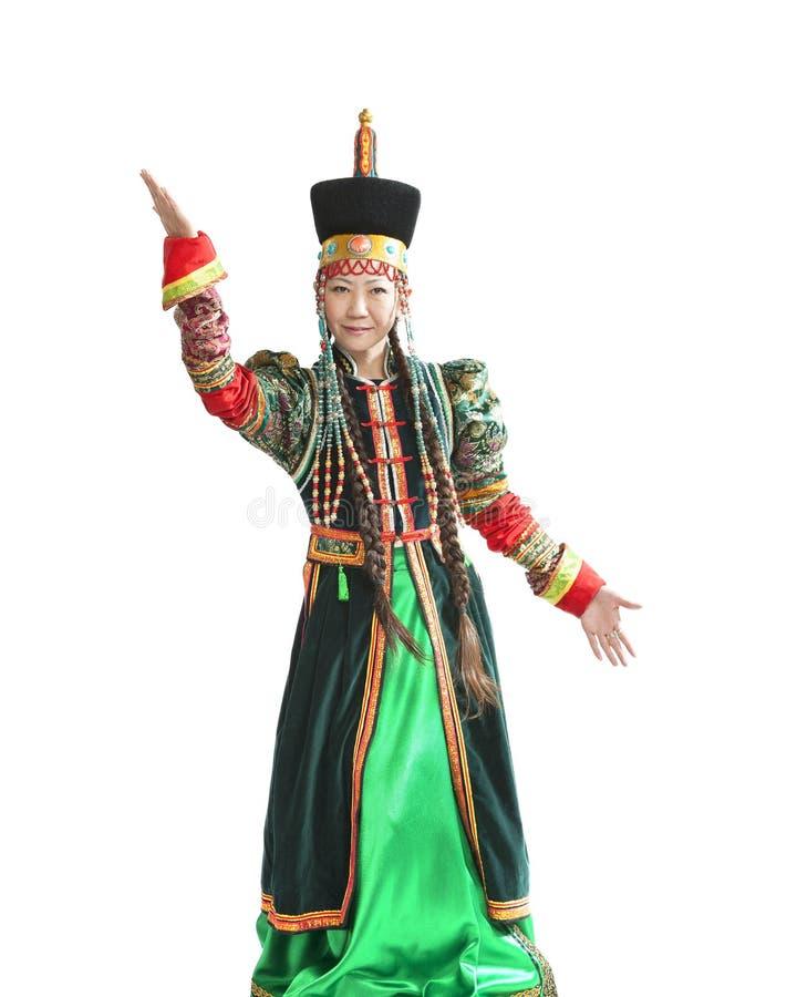 Mulher que dança a dança nacional de Buryat foto de stock