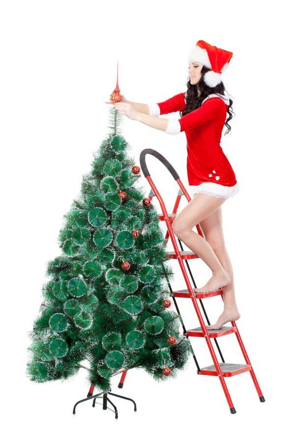Mulher que decora a árvore da pele no stepladder foto de stock