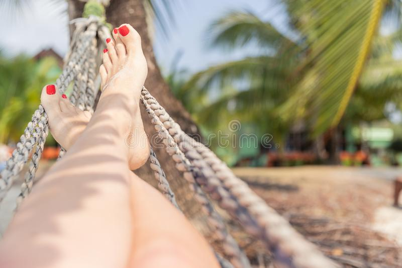Mulher que descansa em uma rede em um fundo tropical Mar e viagem do resto feriado foto de stock