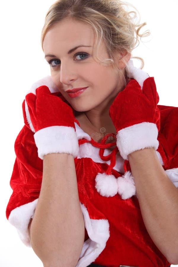 Mulher que desgasta o traje de Santa imagem de stock royalty free