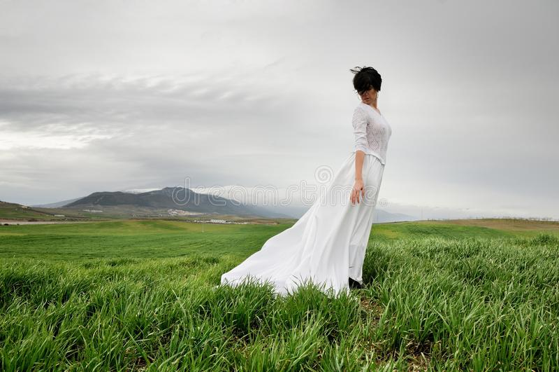 Mulher que desgasta um vestido de casamento no prado imagens de stock royalty free