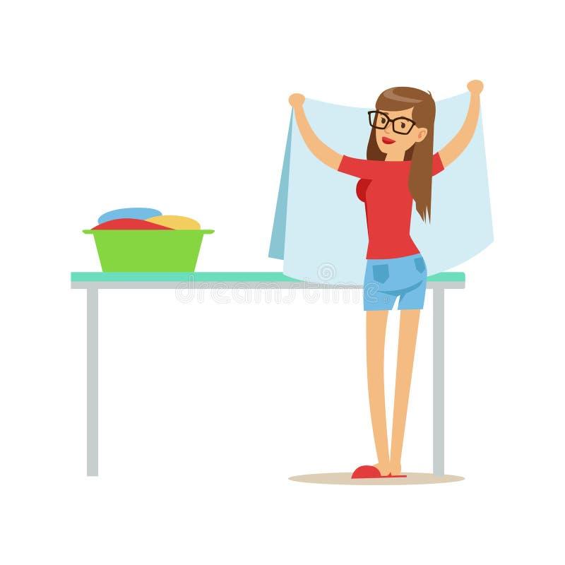 Mulher que dobra a lavanderia limpa, parte dos povos que usam máquinas de lavar automáticas da lavagem automática do autosserviço ilustração do vetor