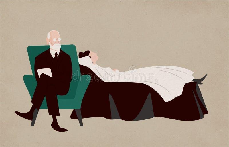 Mulher que encontra-se no sofá e no Sigmund Freud que sentam-se na poltrona ao lado do seu e que fazem perguntas Diálogo entre o  ilustração do vetor