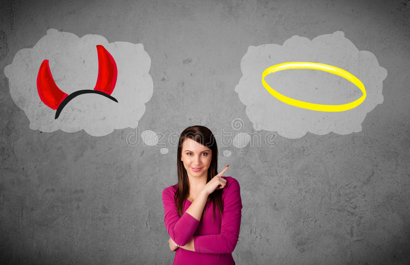 Mulher que escolhe entre bom e mau ilustração royalty free