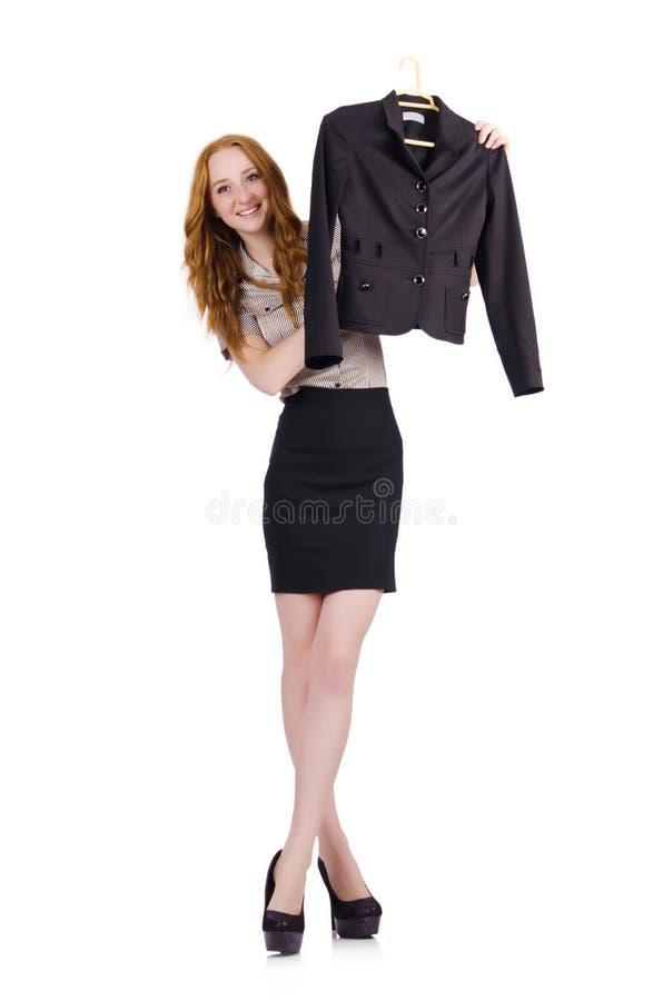 Mulher que escolhe o vestido isolado foto de stock royalty free