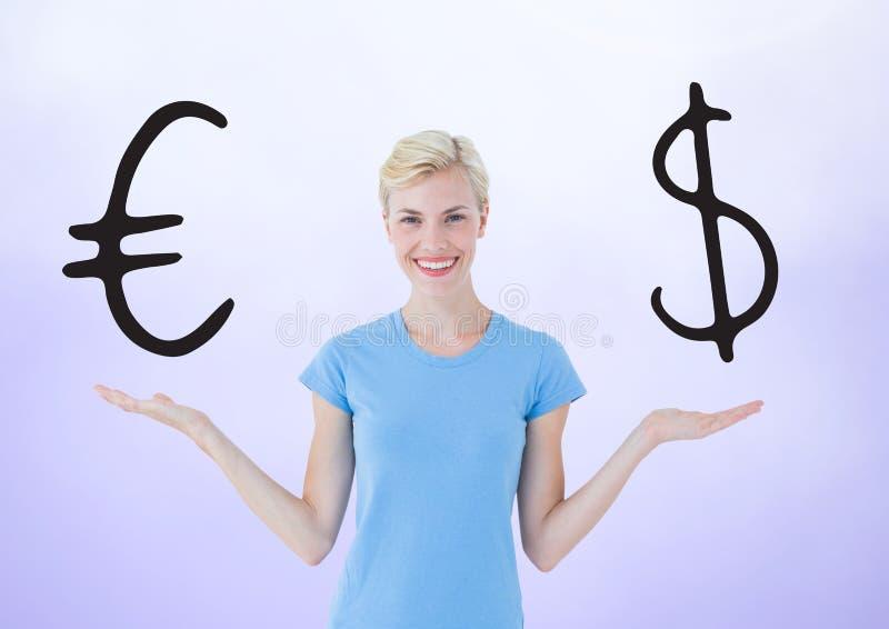 A mulher que escolhe ou que decide com palmas abertas entrega ícones da moeda do euro ou do dólar imagem de stock
