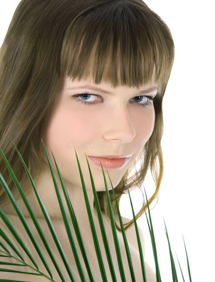 Mulher que esconde atrás da folha de palmeira verde grande foto de stock