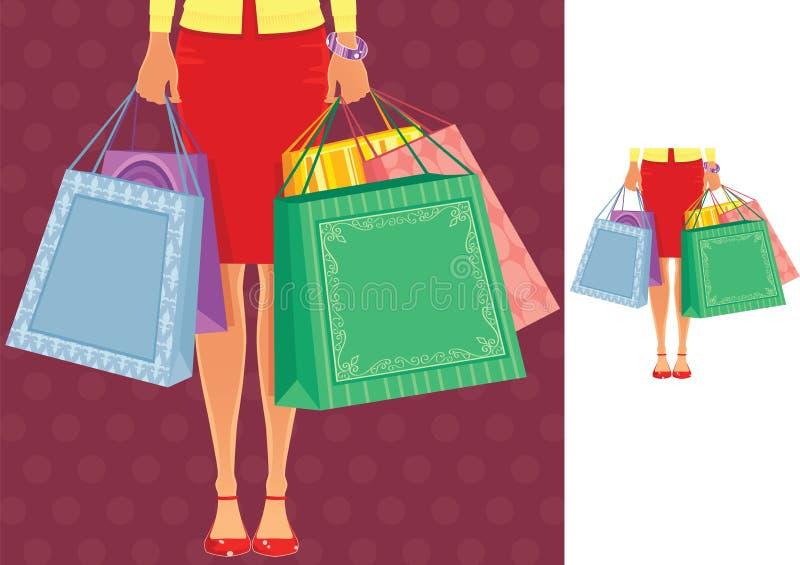 Mulher que está com sacos de compra ilustração do vetor