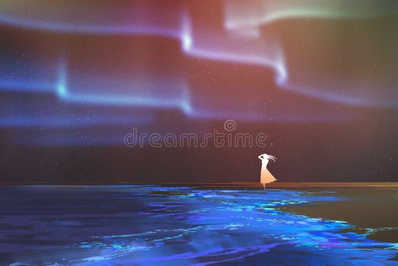 A mulher que está na praia incandesce com aurora borealis da aurora boreal acima ilustração do vetor