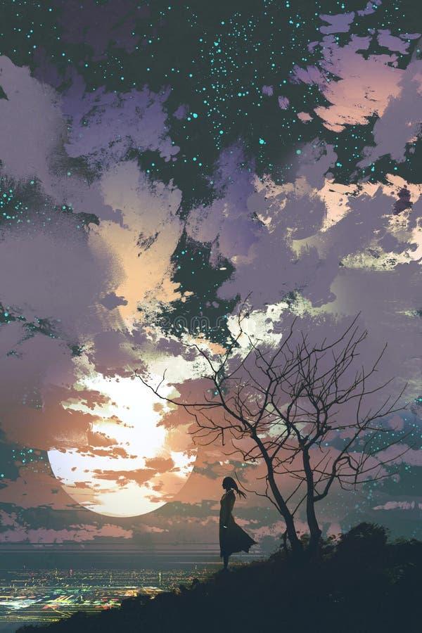 Mulher que está sobre uma montanha contra um céu bonito ilustração royalty free