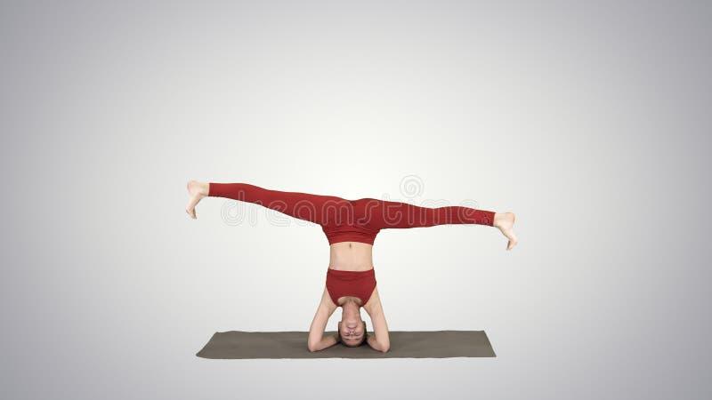 Mulher que executa um headstand com a separação no fundo do inclinação ilustração do vetor