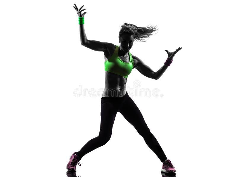 Mulher que exercita a silhueta da dança do zumba da aptidão fotografia de stock royalty free
