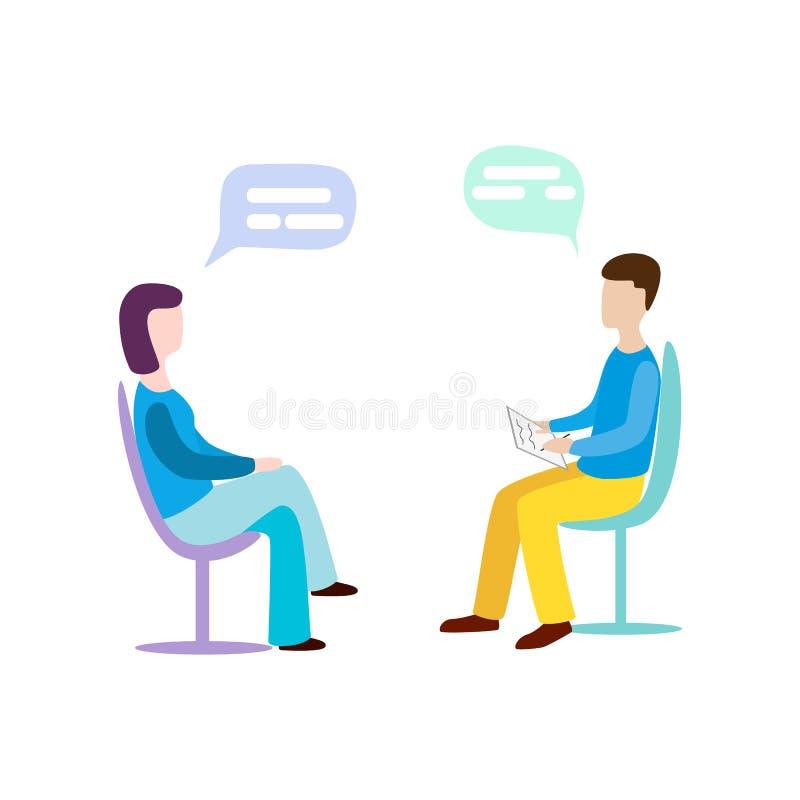 Mulher que fala às perguntas do psychotherapist ou do psicólogo e da resposta psychotherapy psicólogo ilustração royalty free