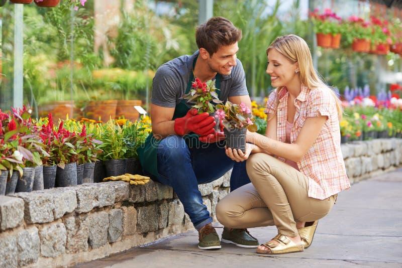 Mulher que fala ao jardineiro no Garden Center foto de stock
